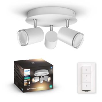 Philips Hue Adore 3 x 5W wit badkamer opbouwspot rond incl. switch en bluetooth