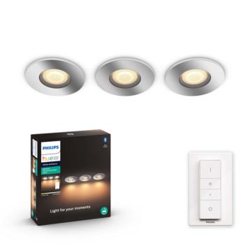 Philips Hue Adore 3-licht badkamer inbouwset 3x5W chroom/wit incl. switch en bluetooth