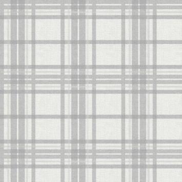 Vliesbehang Country Tartan zilver (104804)