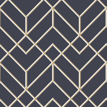 Vliesbehang Losanges filaires Donkerblauw/goud (106568)
