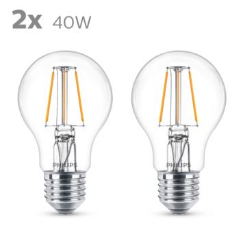 Philips LED peer E27 40W 2 stuks filament helder niet dimbaar