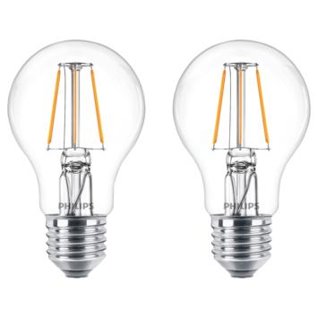 Philips LED peer E27 60W 2 stuks filament helder niet dimbaar