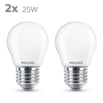 Philips LED kogel E27 25W 2 stuks mat niet dimbaar