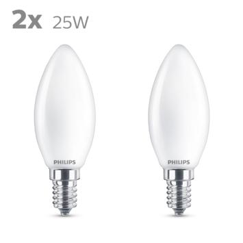 Philips LED kaars E14 25W 2 stuks mat niet dimbaar
