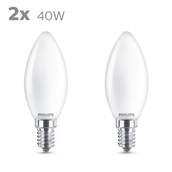 Philips LED kaars E14 40W 2 stuks mat niet dimbaar