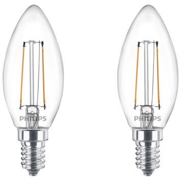 Philips LED kaars E14 25W 2 stuks filament helder niet dimbaar