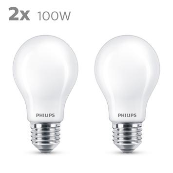 Philips LED peer E27 100W 2 stuks mat niet dimbaar