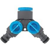 GAMMA sproeiaccessoires kraanstuk kunststof 2--delig 1 inch 3/4 inch grijs met blauw