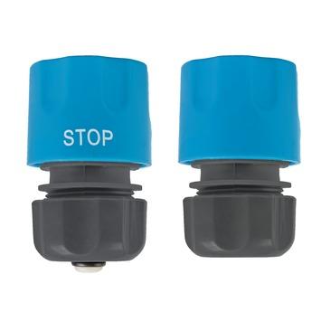 GAMMA sproeiaccessoires slangkoppeling kunststof 2-delig 1/2 inch grijs met blauw