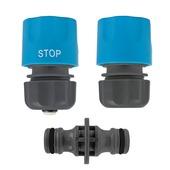 GAMMA sproeiaccessoires slangkoppeling kunststof 3-delig 1/2 inch grijs met blauw