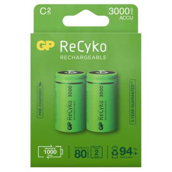 GP Batterij Oplaadbaar C Baby NiMH 3000mAh ReCyko 1,2V 2 Stuks