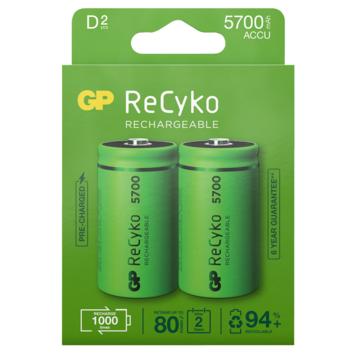 GP Batterij Oplaadbaar D Mono NiMH 5700mAh ReCyko 1,2V 2 Stuks