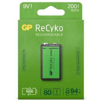 GP Batterij Oplaadbaar 9V NiMH 200mAh ReCyko 8,4V 1 Stuk