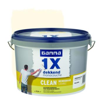 GAMMA muurverf 1x dekkend clean RAL 9010 gebroken wit 2,5 liter