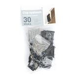 Clipsysteem voor europlint zwart 30 stuks
