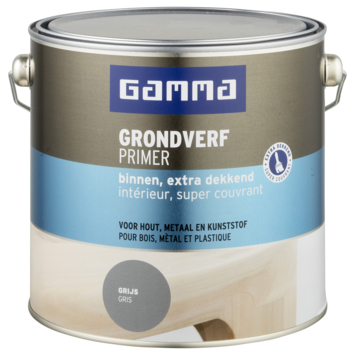 GAMMA grondverf binnen extra dekkend 2,5 L grijs