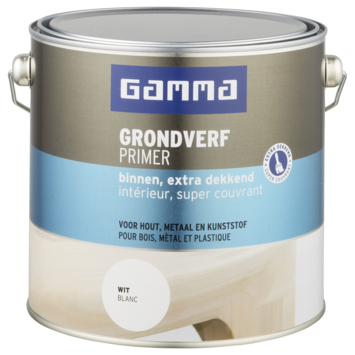 GAMMA grondverf binnen extra dekkend 2,5 L wit