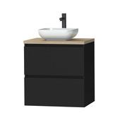 Tiger Karlo badkamermeubel 60cm Mat Zwart met eiken wasblad en keramische waskom