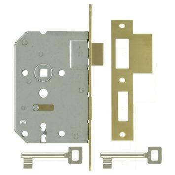 NEMEF 1200 serie Insteekslot dag-/nachtslot 1266/5 met messing voorplaat Doorn 50mm