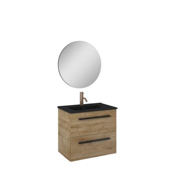 Atlantic badmeubelset Stella met  spiegel en zwarte wastafel 60cm Canela Eiken