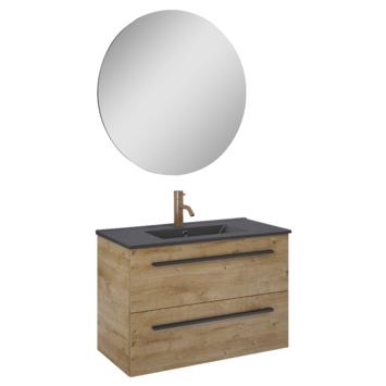Atlantic badmeubelset Stella met spiegel en zwarte wastafel 80cm Canela Eiken