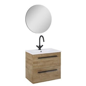 Atlantic badmeubelset Stella met spiegel en wittewastafel 60cm Canela Eiken