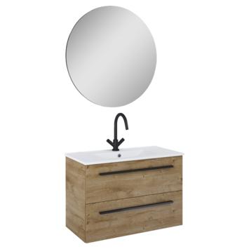 Atlantic badmeubelset Stella met spiegel en wittewastafel 80cm Canela Eiken
