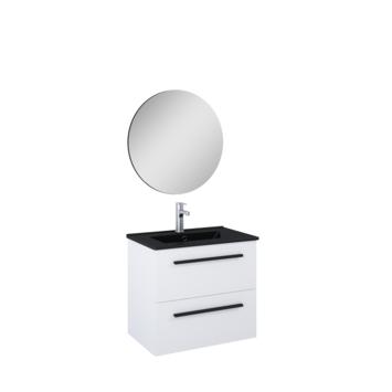 Atlantic badmeubelset Stella met spiegel en zwarte wastafel 60cm Mat Wit