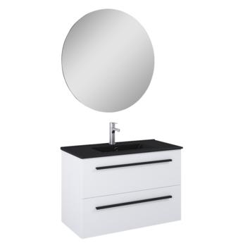 Atlantic badmeubelset Stella met spiegel en zwarte wastafel 80cm Mat Wit