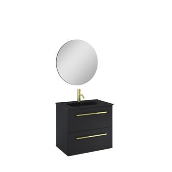 Atlantic badmeubelset Stella metspiegel en zwarte wastafel 60cm Mat Zwart