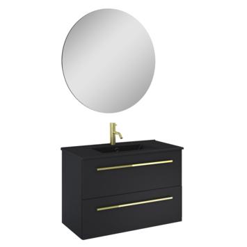 Atlantic badmeubelset Stella metspiegel en zwarte wastafel 80cm Mat Zwart
