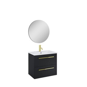 Atlantic badmeubelset Stella metspiegel en witte wastafel 60cm Mat Zwart