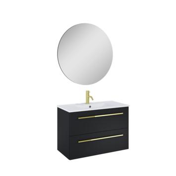 Atlantic badmeubelset Stella metspiegel en witte wastafel 80cm Mat Zwart