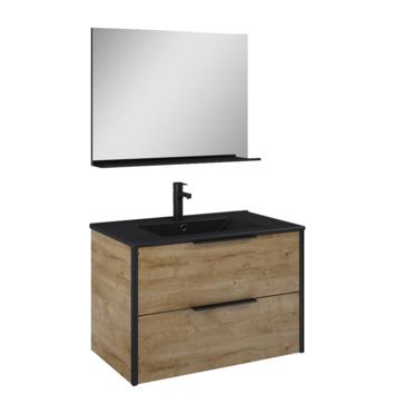 Atlantic badmeubelset Ariamet spiegel en zwarte wastafel 80cm Canela Eiken