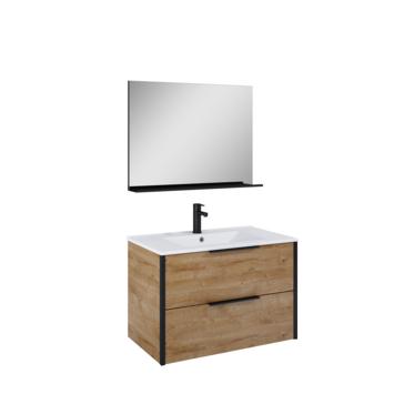 Atlantic badmeubelset Ariamet spiegel en witte wastafel 80cm Canela Eiken