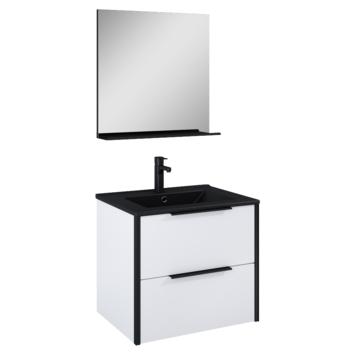 Atlantic badmeubelset Ariamet spiegel en zwarte wastafel 60cm Mat Wit