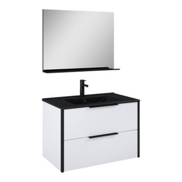 Atlantic badmeubelset Ariamet spiegel en zwarte wastafel 80cm Mat Wit