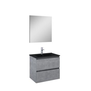 Atlantic badmeubelset Heonmet spiegel en zwarte wastafel 60cm Beton