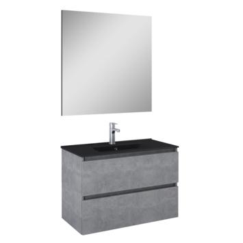 Atlantic badmeubelset Heonmet spiegel en zwarte wastafel 80cm Beton