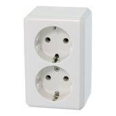 Schneider Electric opbouw geaard stopcontact dubbel wit