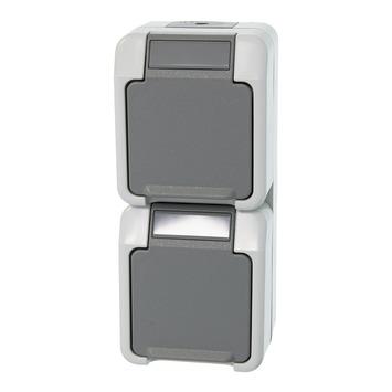Schneider Electric spatwaterdicht dubbel stopcontact grijs