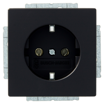 Busch-Jaeger Future Linear enkel geaard stopcontact zwart