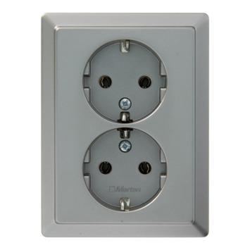 Schneider Electric Artec dubbel geaard stopcontact edelstaal