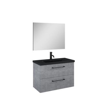 Atlantic badmeubelset Sienna met spiegel en zwarte wastafel 80cm beton