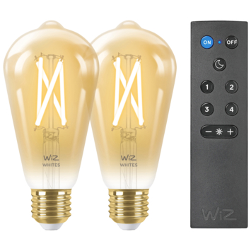 WiZ Connected LED edison E27 50W 2 stuks + afstandsbediening filament gold koel tot warmwit licht dimbaar