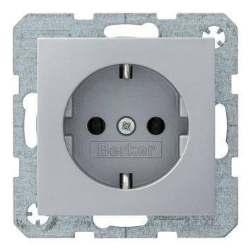 Berker B1-B.3-B.7 Enkel Geaard Stopcontact Aluminium