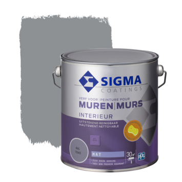 Sigma muurverf reinigbaar mat RAL 7045 2,5 liter
