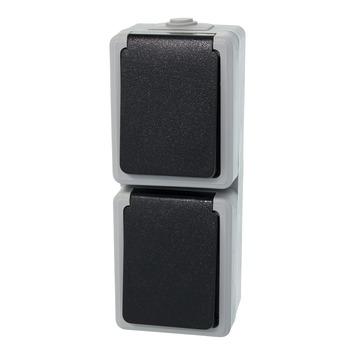 GAMMA Atlas verticale dubbel stopcontact grijs
