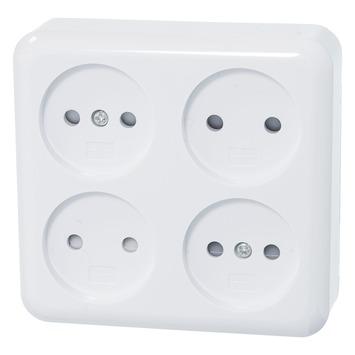 OK stopcontact opbouw 4-voudig wit