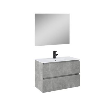 Atlantic badmeubelset Heon met spiegel en witte wastafel 80cm Beton